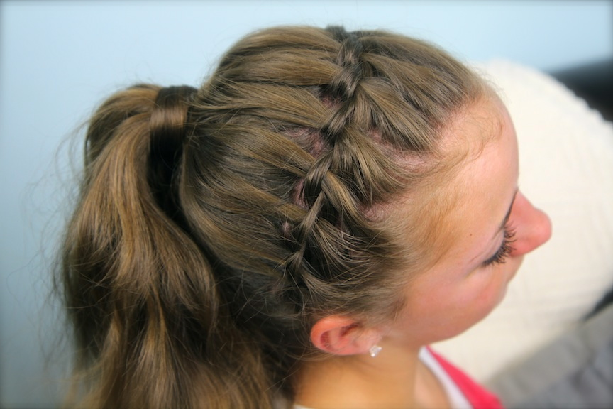 Waterfall Braided Headband into Hair-Wrapped Ponytail