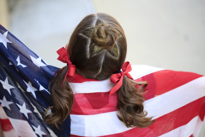 Star Bun Combo | 4th of July Hairstyles